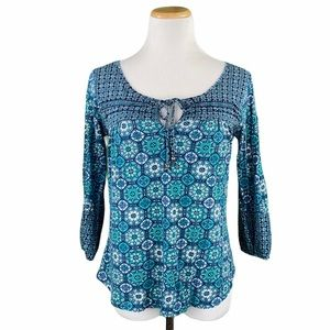 Lucky Brand Folklore Mosaic 3/4 Sleeve Blouse